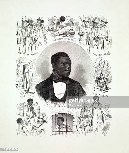 life and portrait of fugitive slave anthony burns - fugitive stock illustrations