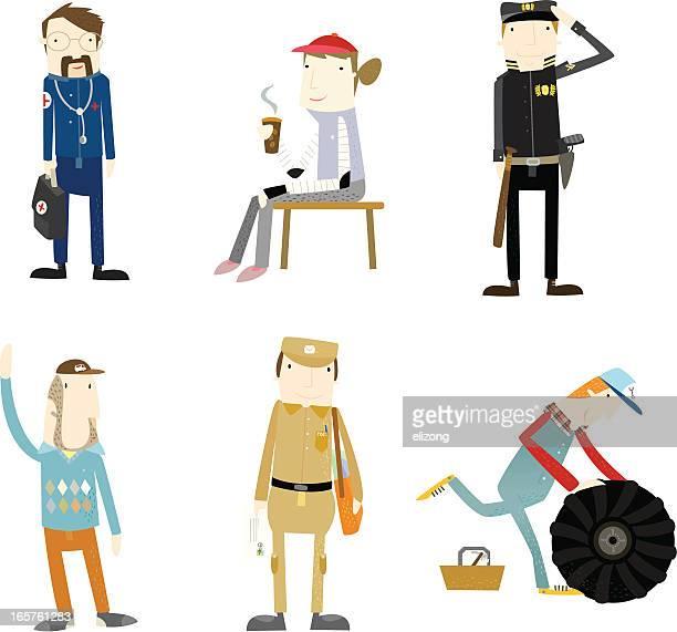 ilustraciones, imágenes clip art, dibujos animados e iconos de stock de la vida de las personas en su lugar de trabajo-ocupación - taxista