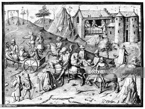 xvでのフランスでの生活。世紀。悪人は処刑の場所に連れて行かれる - 処刑点のイラスト素材/クリップアート素材/マンガ素材/アイコン素材