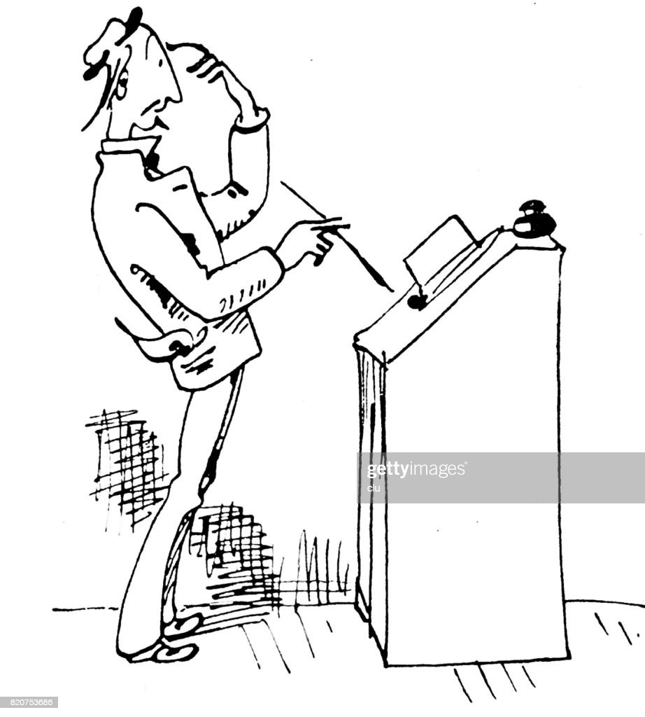 Life of an author: man standing at desk, thinking, on white background : stock illustration