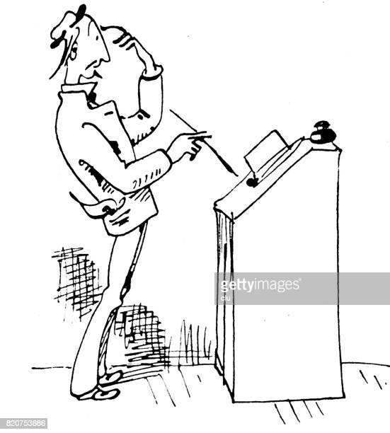 Life of an author: man standing at desk, thinking, on white background