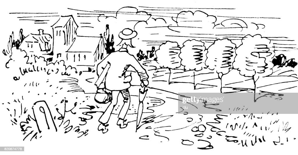 Life of an author: Man walking with his luggare to the village : stock illustration