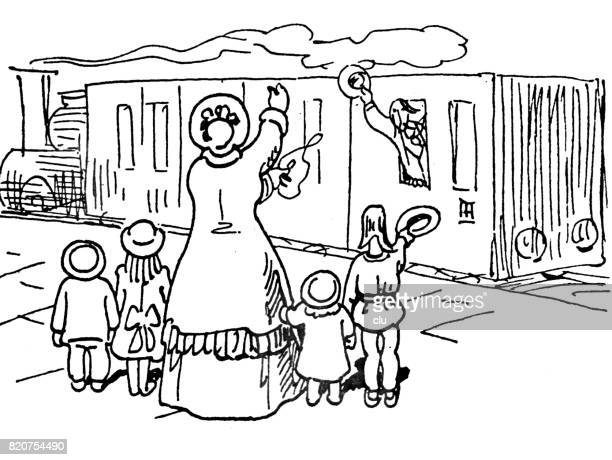 Life of an author: man waving from train to family standing on platform