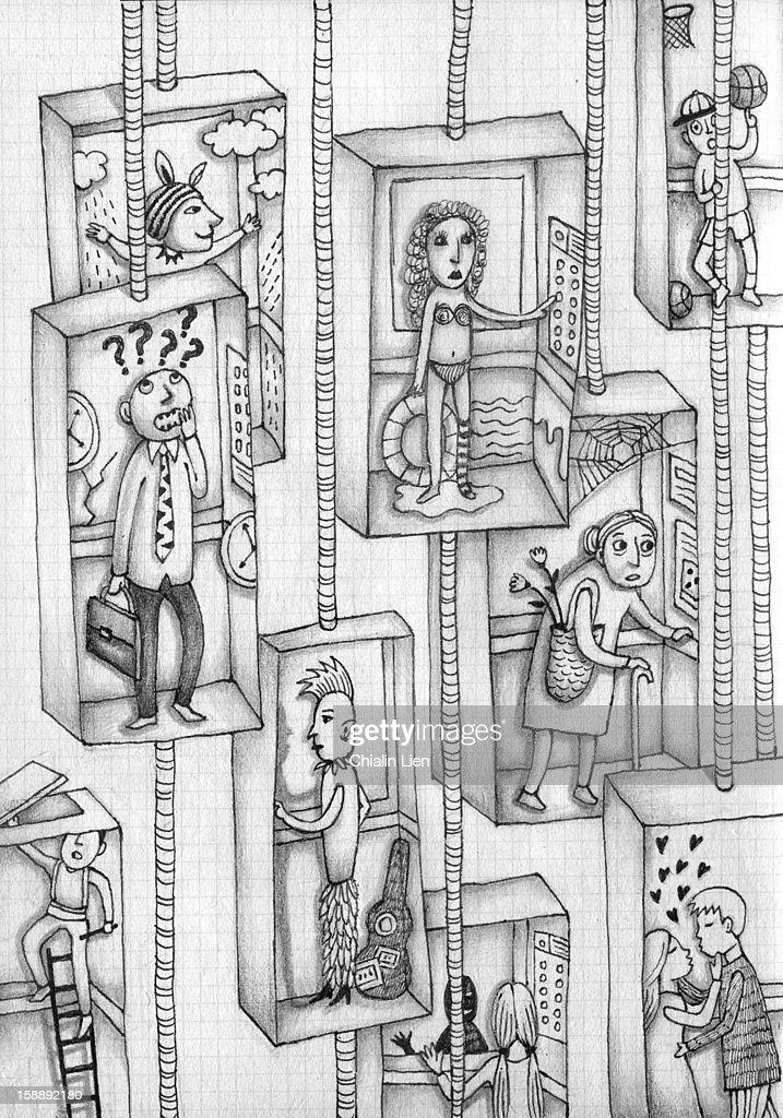 Life on the Lift : Stock Illustration