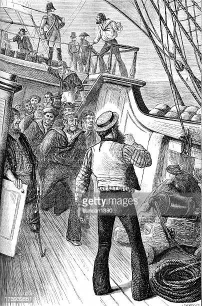 life on the ocean waves royal navy - 18th century stock illustrations