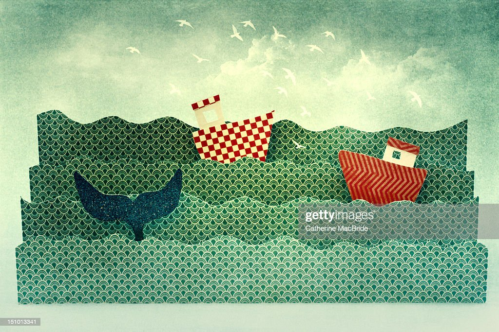 Life on the paper wave : Stock Illustration