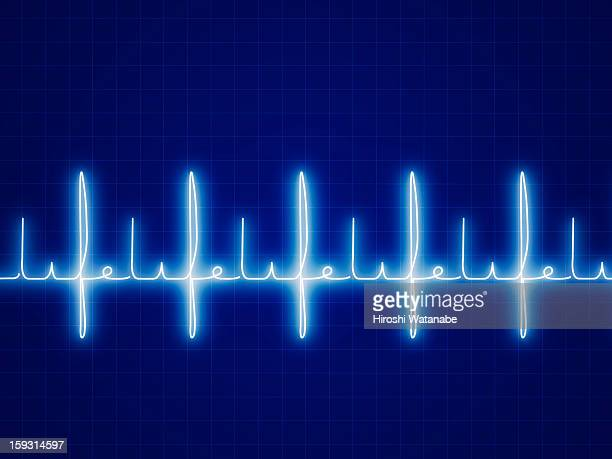 """ Life "" written with heart rate graph"