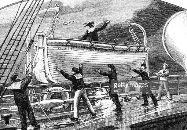 lifeboats on a ship, ready for launching - lifeboat stock illustrations