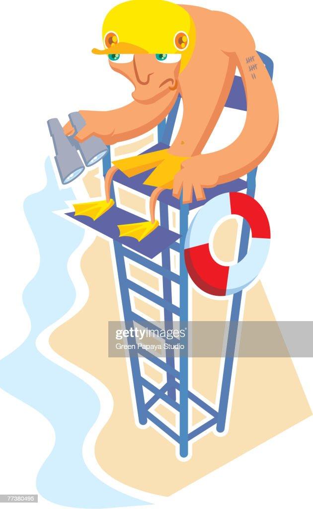 A lifeguard at his post : Illustration