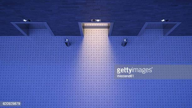lifts, blue lighting mood, open door, different directions - 漂白した点のイラスト素材/クリップアート素材/マンガ素材/アイコン素材