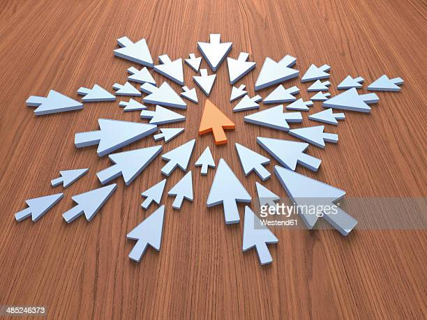ilustraciones, imágenes clip art, dibujos animados e iconos de stock de light blue arrows and an orange one, 3d rendering - apuntar