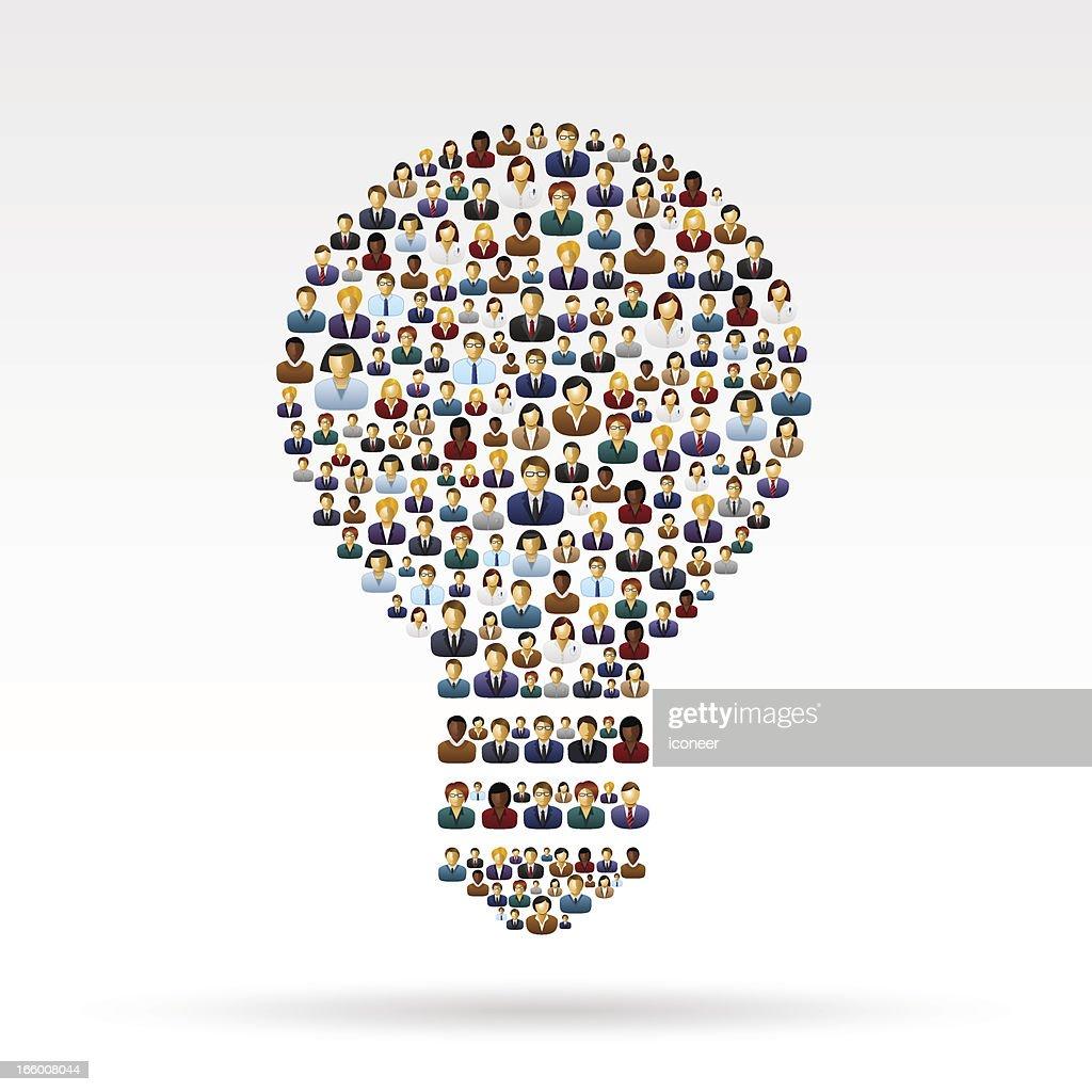 Light bulb business people : Vector Art