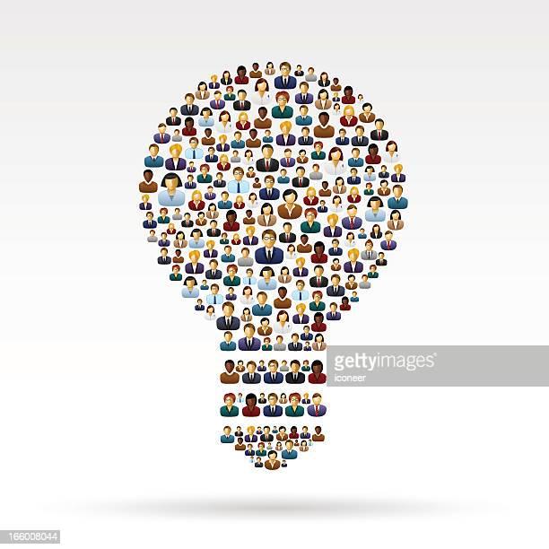 ilustraciones, imágenes clip art, dibujos animados e iconos de stock de bombilla las personas de negocios - agilidad