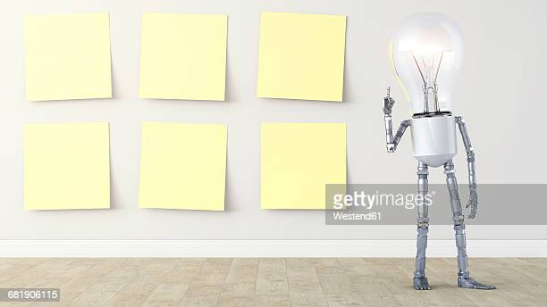 Light bulb manikin standing by row of yellow sticky notes