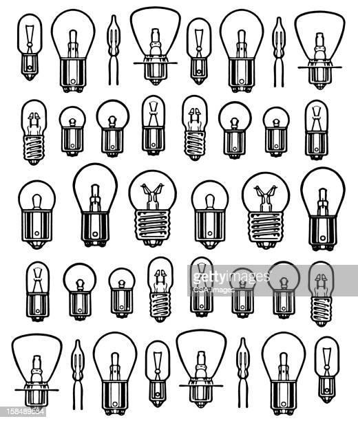 light bulb pattern - side by side stock illustrations