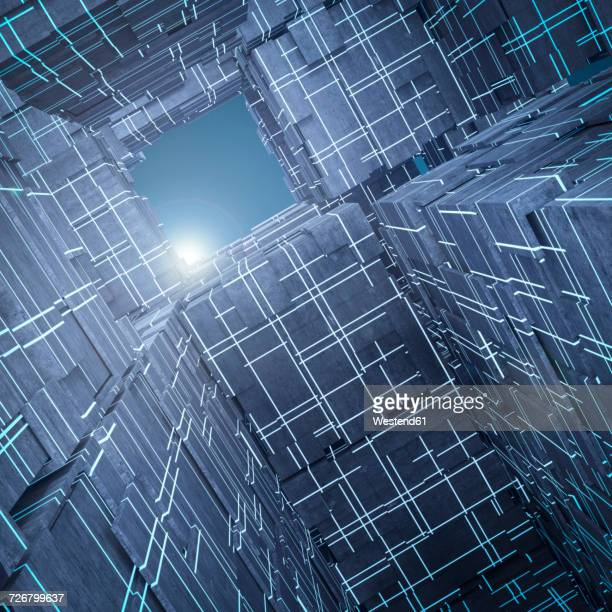 light shining above futuristic cubes, 3d rendering - low angle view stock illustrations