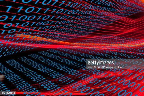 light streaks and binary code - 2015 stock illustrations