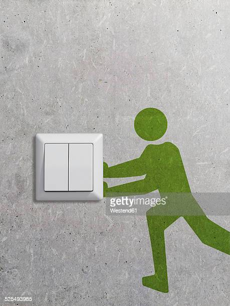 light switch and pictogram on concrete wall, 3d rendering - switch stock illustrations, clip art, cartoons, & icons