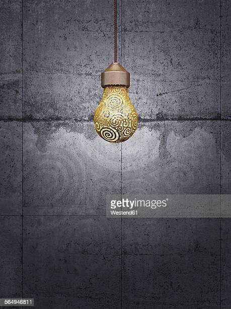 Lightbulb in front of concrete wall, 3d rendering