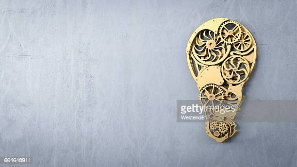 Lightbulb in front of concrete wall, cogwheels, 3D Rendering
