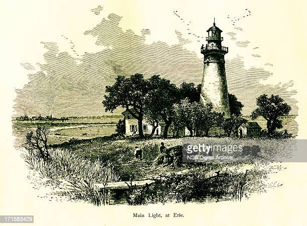 lighthouse at erie, pennsylvania | historic american illustrations - lake erie stock illustrations, clip art, cartoons, & icons