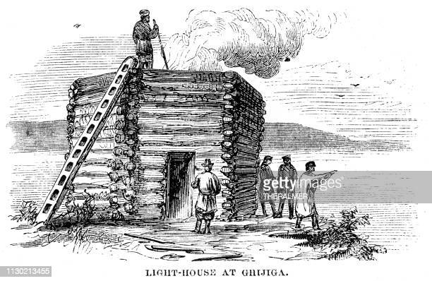 Lighthouse at Ghijiga engraving 1868