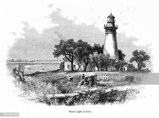lighthouse, buffalo, new york, united states, american victorian engraving, 1872 - lake erie stock illustrations, clip art, cartoons, & icons