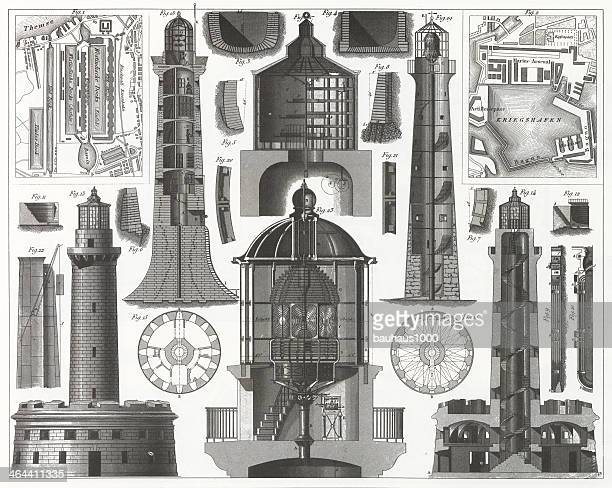 lighthouse engraving - safety equipment stock illustrations, clip art, cartoons, & icons