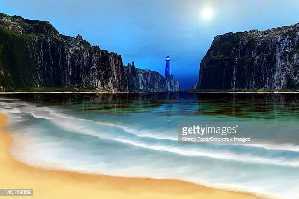 a lighthouse guards this beautiful cove. - steep stock illustrations, clip art, cartoons, & icons