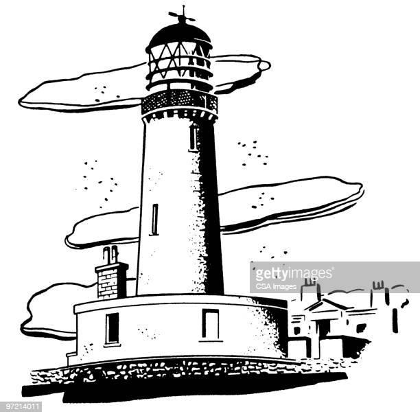 ilustraciones, imágenes clip art, dibujos animados e iconos de stock de lighthouse - faro