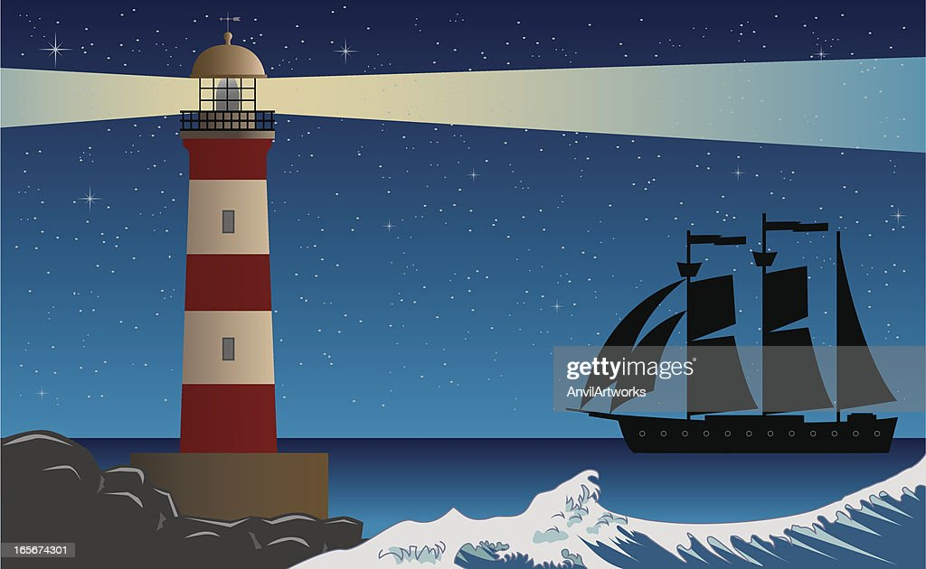 Lighthouse Night Scene with Clipper Ship