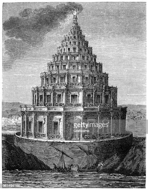 lighthouse of alexandria or pharos of alexandria - lighthouse stock illustrations