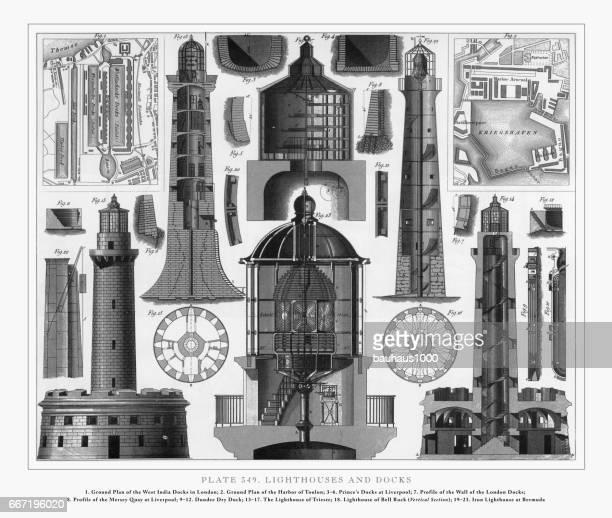 ilustraciones, imágenes clip art, dibujos animados e iconos de stock de faros y muelles grabado, 1851 - faro