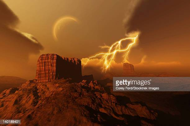 A lightning storm over a desert lights up the sky.