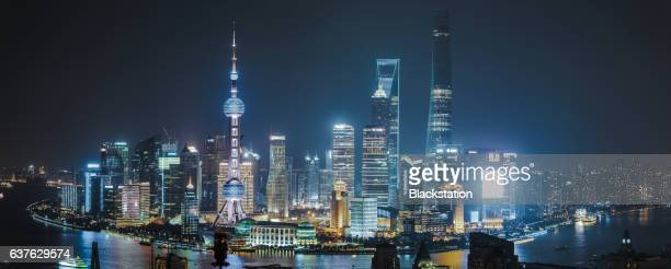 lights of the lujiazui financial district - tall high stock illustrations