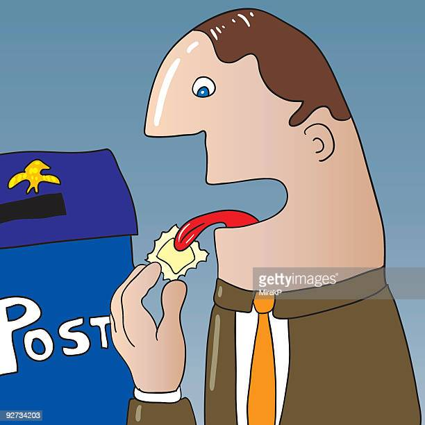 liking post stamp - licking stock illustrations, clip art, cartoons, & icons