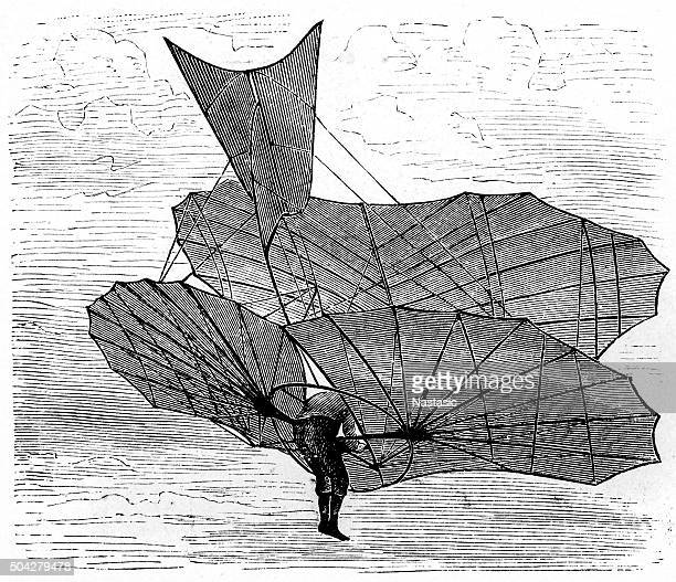stockillustraties, clipart, cartoons en iconen met lilienthal's flying machine - contraptie