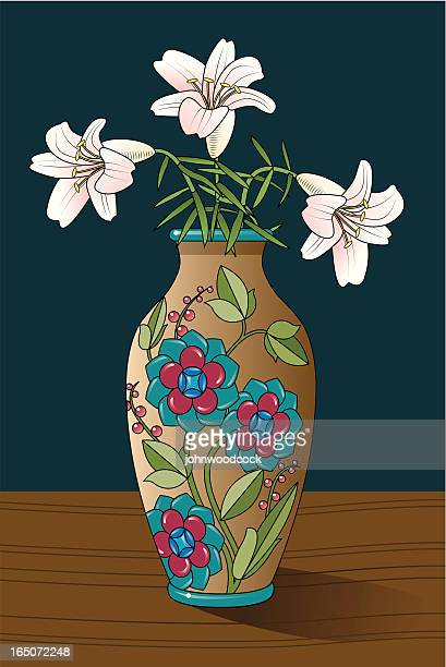 lillies in a vase - vase stock illustrations, clip art, cartoons, & icons