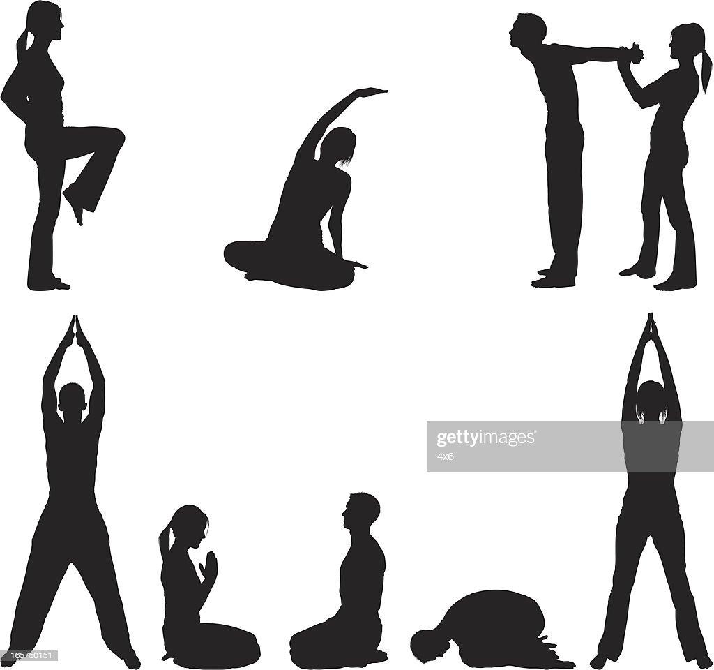 Limber couple stretching and doing yoga : stock illustration