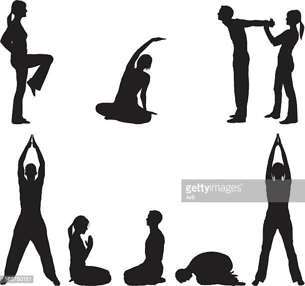 limber couple stretching and doing yoga - touching toes stock illustrations, clip art, cartoons, & icons