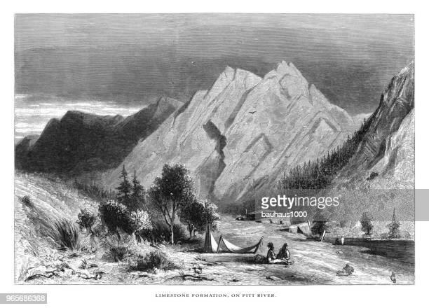 ilustraciones, imágenes clip art, dibujos animados e iconos de stock de formación de piedra caliza en el río de pitt, las montañas de sierra nevada, norte de california, estados unidos, american victoriana grabado, 1872 - valle