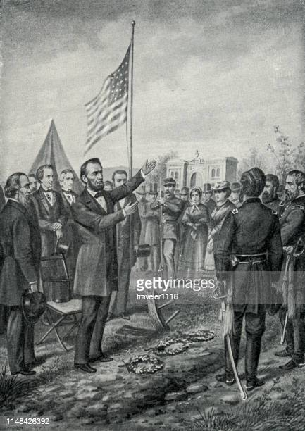 lincoln at gettysburg - abraham lincoln stock illustrations