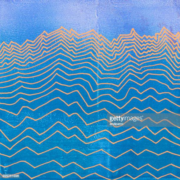 line art of mountain range on blue textured background - tide stock illustrations, clip art, cartoons, & icons