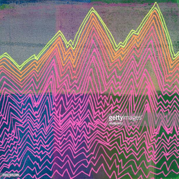 line art with bright neon colors and texture - geology stock illustrations, clip art, cartoons, & icons
