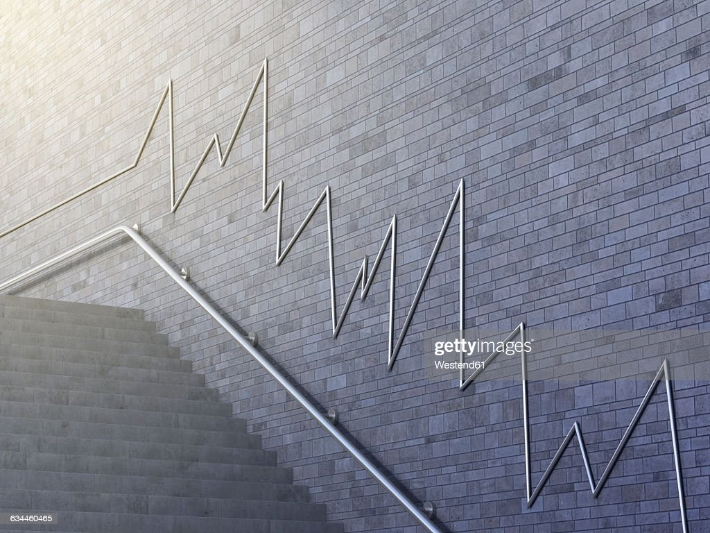 Line chart on wall, 3d rendering : Stock Illustration
