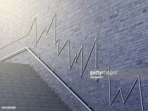 Line chart on wall, 3d rendering