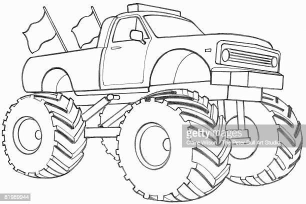 ilustraciones, imágenes clip art, dibujos animados e iconos de stock de line drawing of a monster truck - monstertruck