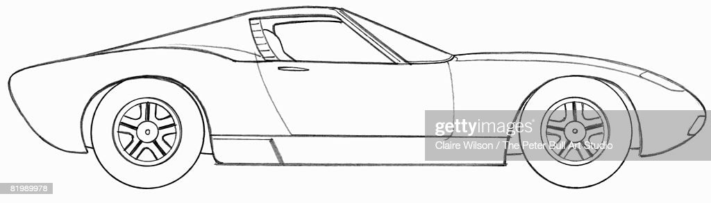 Line Drawing Of A Sports Car Side View Stock Illustration Getty Images