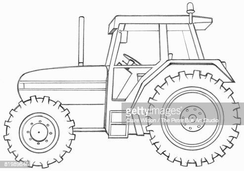 Line Drawing Of A Tractor Side View Stock Illustration