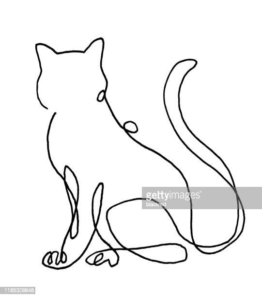line drawing of cat - one animal stock illustrations